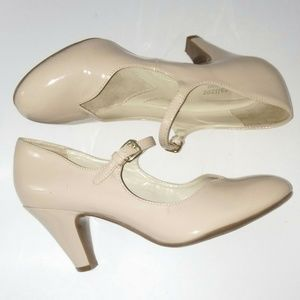Naturalizer 7.5 Nude Mary Jane Pumps Faux Patent